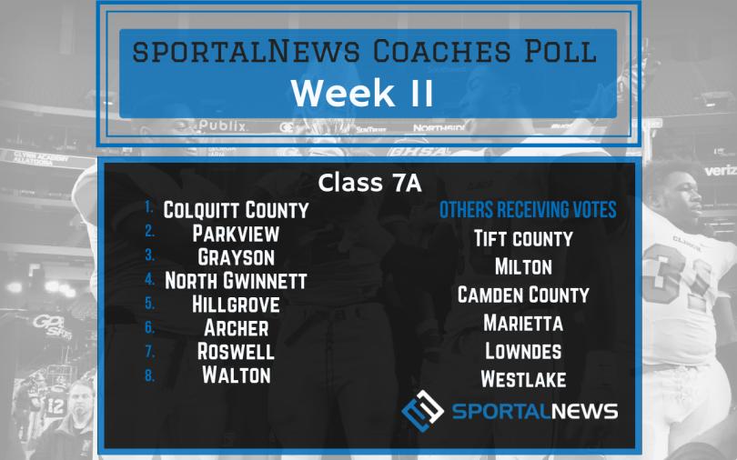 Week 11 7A sportalNews Coaches Poll