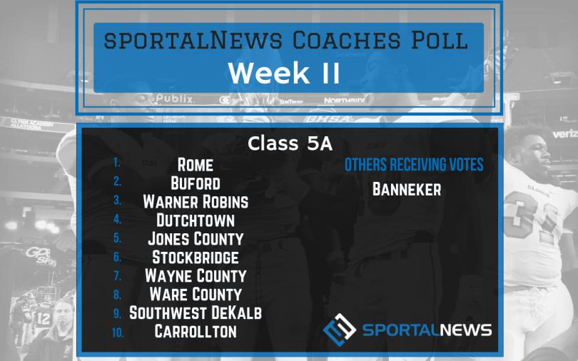 Week 11 Class 5A sportalNews Coaches Poll