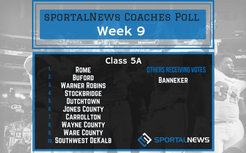 Week 9 Class 5A sportalNews Coaches Poll